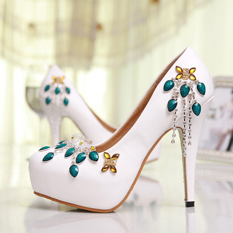 2015 Spring Summer New Shoes Woman High Heels Platform Pumps Fashion Sexy Women Pumps Ladie Party Dress White Wedding Shoes