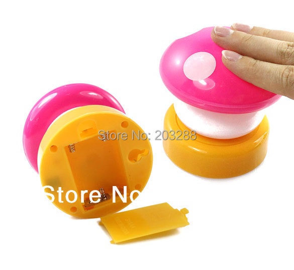 Free Shipping LED Mushroom Press Down Touch Lamp Night Light Pink(China (Mainland))