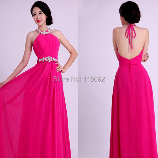 Beaded Maxi Gown Long Fuschia Chiffon Women Bridesmaid Dresses 2015 Neck Stra