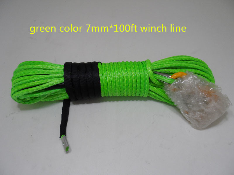 7mm*100ft synthetic winch line for atv/utv winch,winch synthetic rope,winch ropes(China (Mainland))