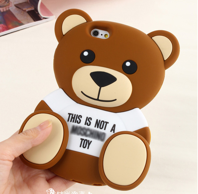 2015 Newest Cute 3D Cartoon Brown Bear Back Cover Soft Silicone Case For iPhone 6/6 Plus/5s/5/4s/4 case For Samsung Galaxy S6(China (Mainland))