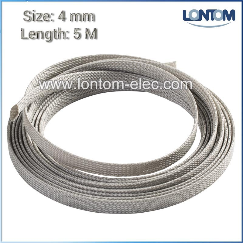 Free Shipping 4 mm 5M Gray PET Braided Expandable Auto Wire Cable Sleeve High Quality Sleeving(China (Mainland))