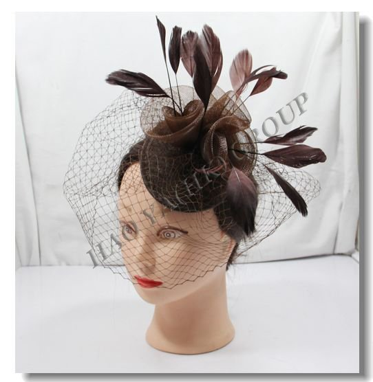 2013 free shipping fashion hair accessory  4 colors  6pcs/lot sinamay base fascinator  Rose fascinator