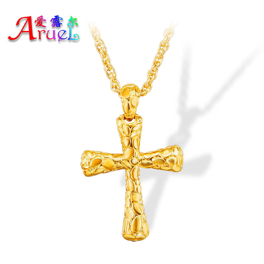 retro 18K Real gold Plated chain men fashion Necklace chain fashion dubai Wholesale fine jewelry crucifix pendant birthday gift(China (Mainland))