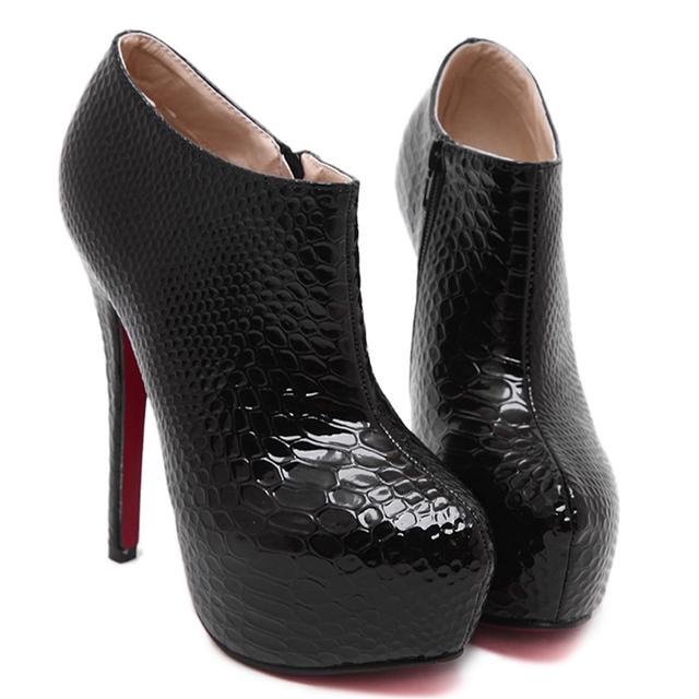 Black Snake Skine Ankle Boots Sexy Red Bottom Heels Women Platform ...