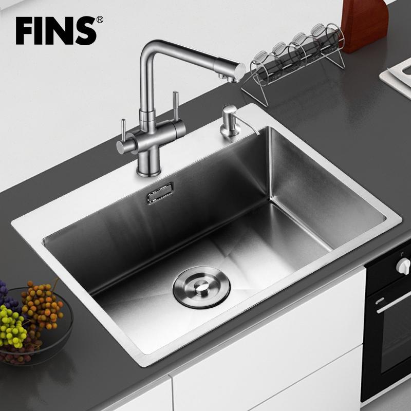 Handmade sink monocolpate stainless steel pots vegetables single sink 304 counter basin sink bundle<br><br>Aliexpress