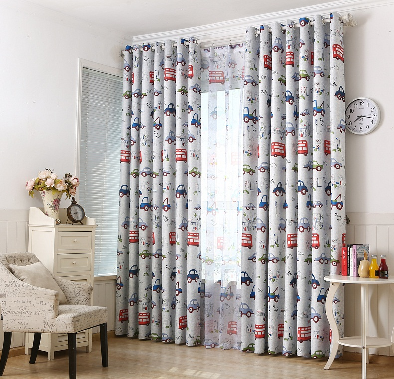 Cartoon Car printed Blackout Window Sheer Curtains For ...