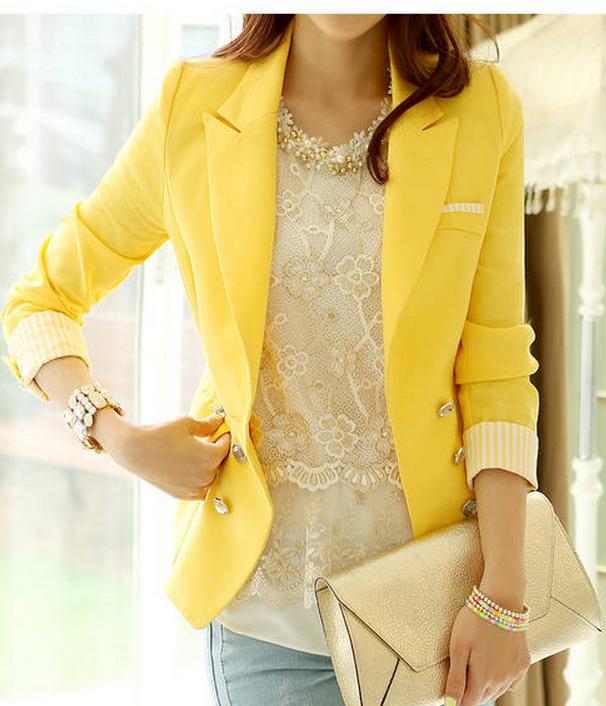 Пиджак лимонного цвета с чем носить
