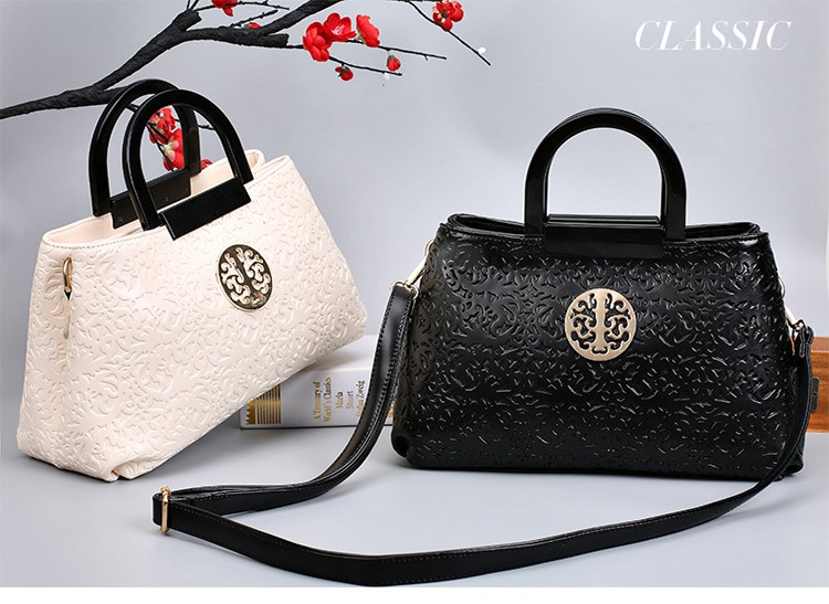 Chinese National Embossing Solid Women Leather Handbags PU 2016 Satchels Crossbody Women Bag Fashion Handbags Totes