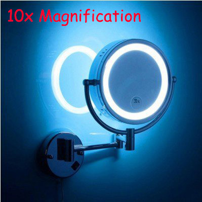 led bathroom beauty mirror double faced retractable makeup mirror folding LED brass cosmetic mirror wall mounted mirror with