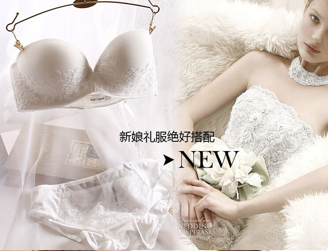 Strapless Bra 3 Breasted Bow Cotton Bra Wedding Dress Push
