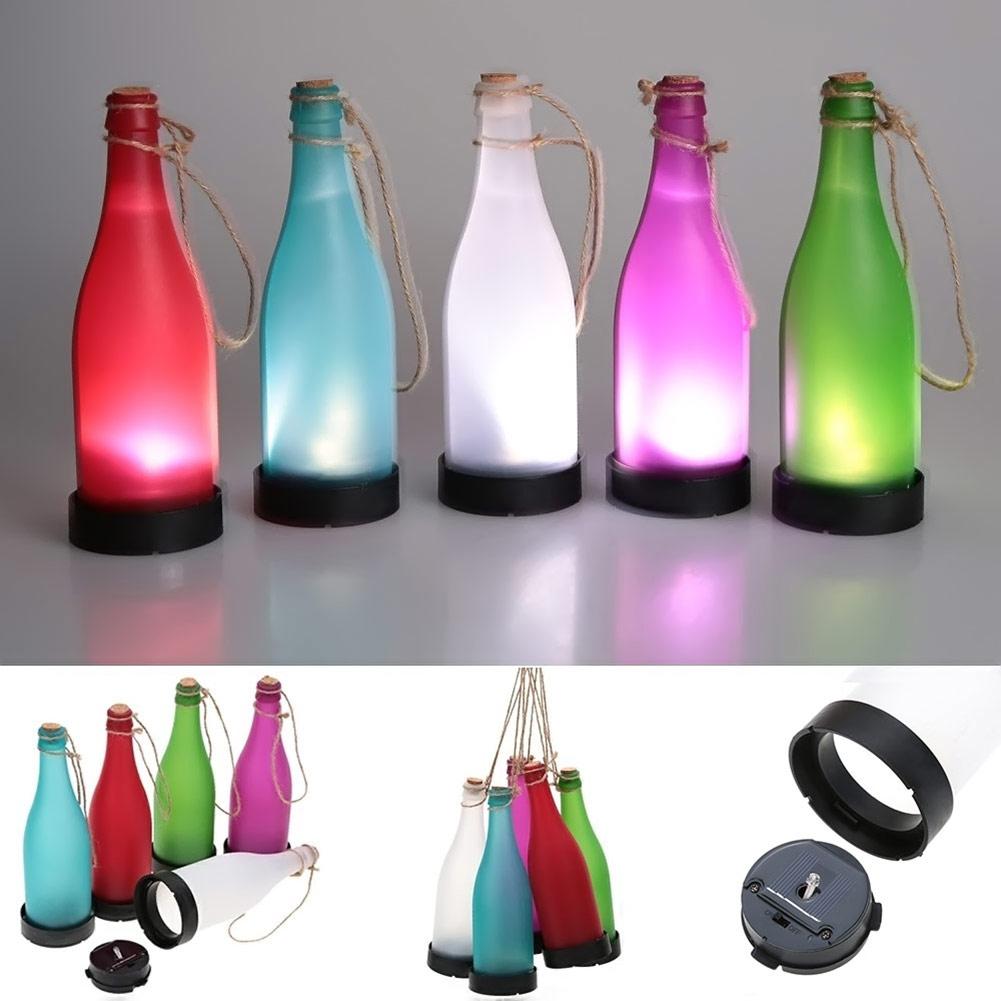 5 pcs sets cork wine bottle led solar powered sense light for Wine bottle patio lights