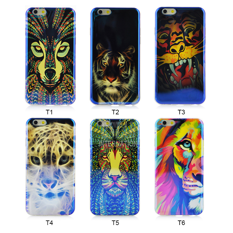 style Animal colorful geometric pattern Blu-Ray skin back cover soft TPU lion tiger Leopard Phone case iphone 5 5S - Corcossi Science & Technology CO., LTD store