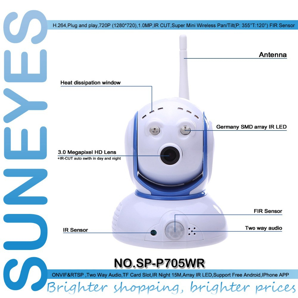 SunEyes SP-P705WR 720P HD PIR Mini IP Camera Wireless Wifi Two Way Audio PIR Detection No Mistake Alarms as Motion Detection (China (Mainland))