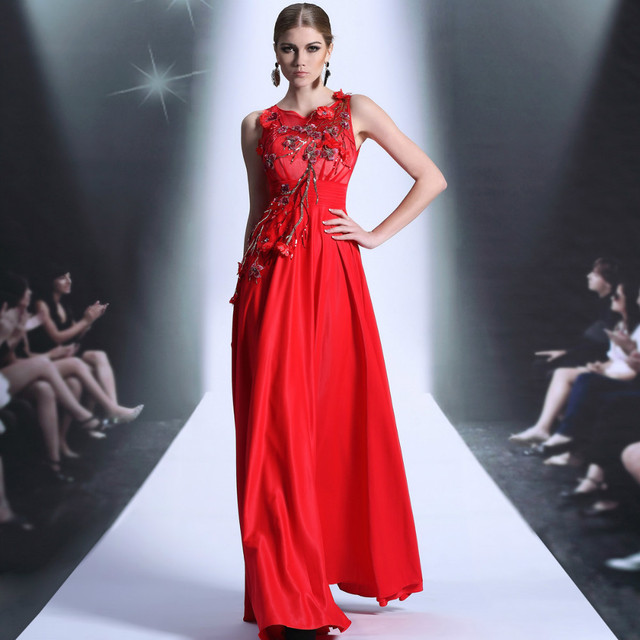 Free shipping DORISQUEEN new arrival applique crystal sleeveless fast shipping ready to ship long red prom dresses  2014 30896
