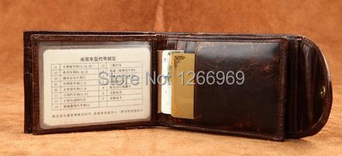 Genuine Imported Raw Nature Calf Leather Bifold Credit Card Holder Men Driving license Card Holder Tan Brown Buckle Closure(China (Mainland))