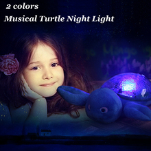 2 Colors Musical Turtle Night Light Sky Star Projection Lamp LED Sleep Nightlight Children Toy Baby Bedroom Decoration 2016 New(China (Mainland))