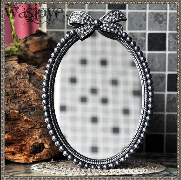 European high-grade retro small table mirror creative cute sided desktop Princess Mirror vanity mirror for home decoration J026(China (Mainland))
