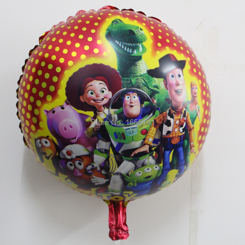 Hot sale 30pcs/lot Toys Story helium balloons Birthday party Printed cartoon ballons gifts 18inch round 45*45cm foil balloon(China (Mainland))