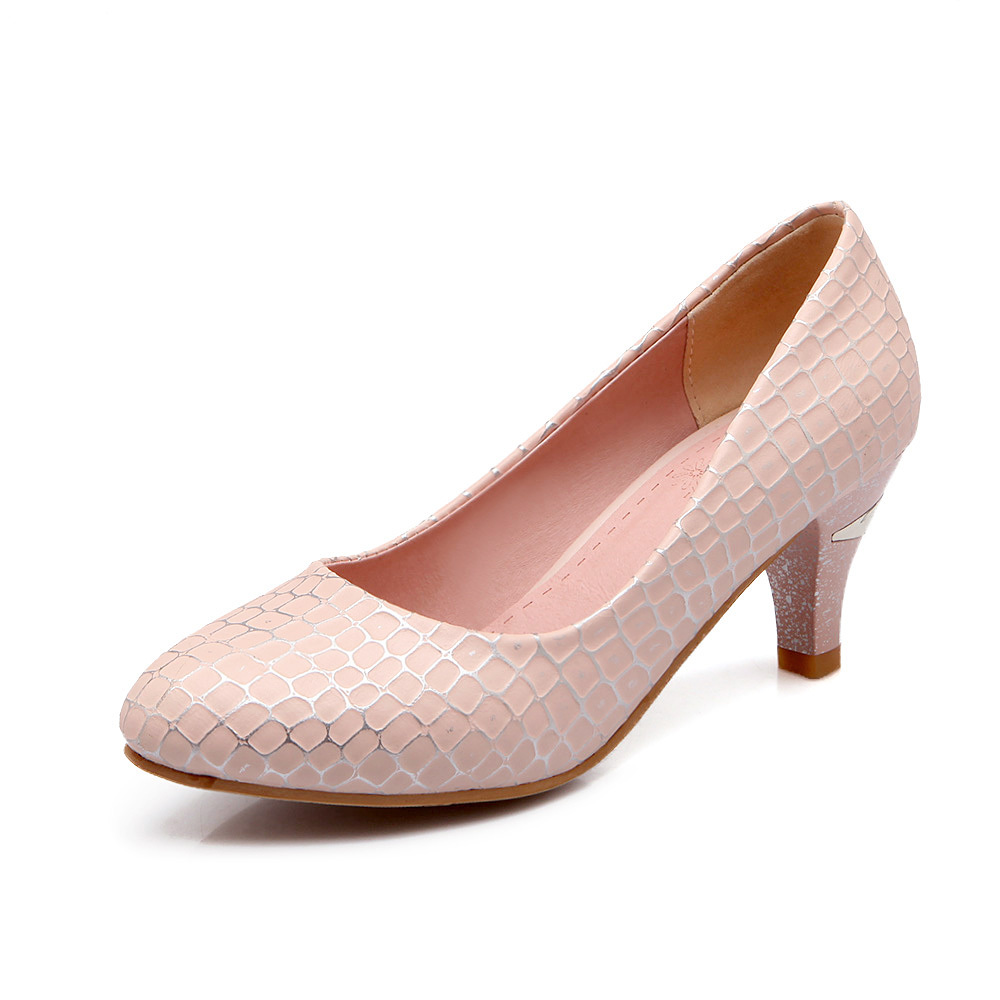6.5cm Medium Heel Shoes Woman 2015 Round toe Slip-on Women Platform pumps shoes Casual Shoes Women