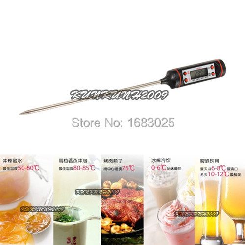 Black Portable Instant Digital Food Probe Cooking BBQ Meat Oven Grill Steak Chocolate Thermometer Kitchen Tool(China (Mainland))