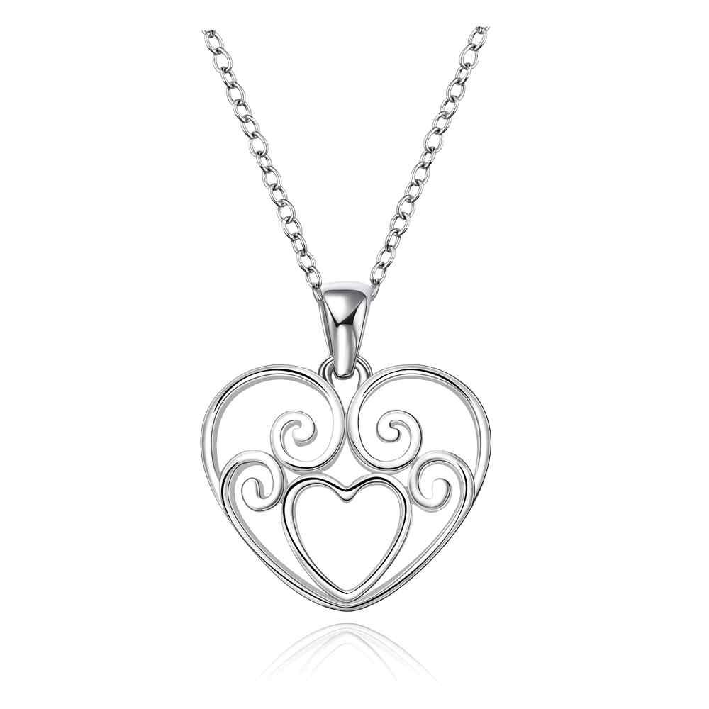 Free Shipping New Beautiful Fashion 925 silver women necklace heart need help perfume women bijoux(China (Mainland))