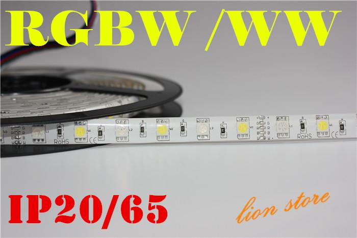 5M RGBW 5050 LED strip Light Waterproof IP20/65 DC12V SMD 60Leds/M 300 LEDS Flexible Bar Light strips RGB + White/WW light(China (Mainland))