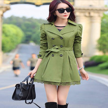Autumn Casacos Femininos 2015 Elegent Trench Coat For Women Fashion Bow Outerwear Long Slim Double Breasted Coats 6 Colors C8076