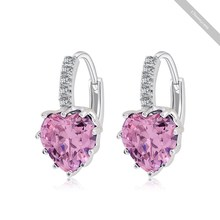 2015 Time-limited New Fine Jewelry Earings Pendientes Aros Hotsale Heart Crystal Studded Charms Earrings Gold/platinum Plated (China (Mainland))