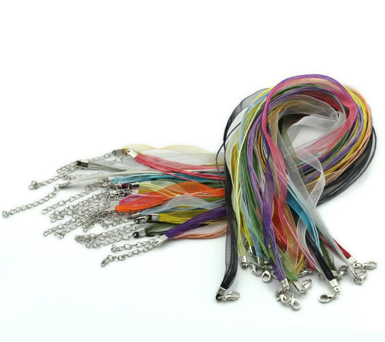 "22PCs Mixed Organza Ribbon Waxen Cords Lobster Clasp Necklaces 43.2cm 17"" High Quality Fine DIY Jewelry Fashion Findings(China (Mainland))"