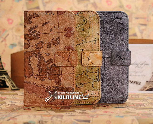 World Map Retro Wallet Leather Case Cover for Samsung Galaxy S4 S IV i9500