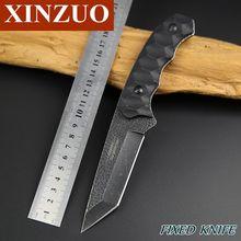 Xinzuo 440A alta calidad total Tang fijo escudo hoja negro meteorito acabado caza cuchillos supervivencia táctica que acampa Tanto cuchillo