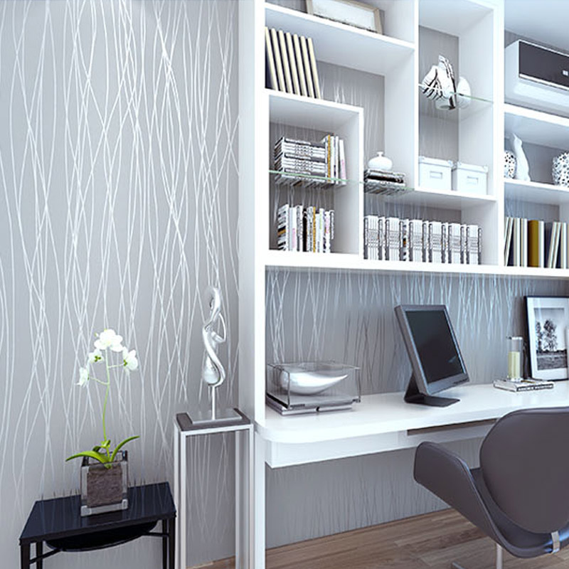 Non woven fashion thin flocking vertical stripes for Grey silver wallpaper living room