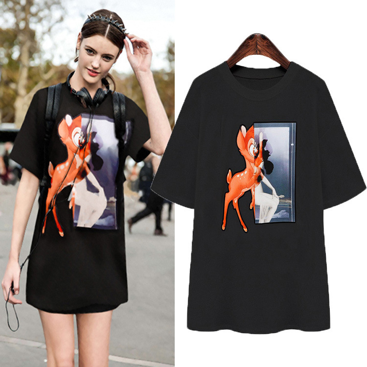 4XL Women T-Shirts 2015 New Fashion Women's Casual Summer Short-sleeved Round Neck Cartoon Plus Size Black Tops 763 - Marco General Clothing Trading Company store