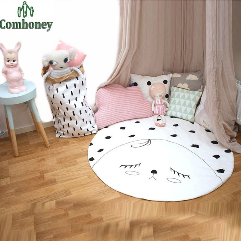 Play Mats 90cm Cotton Baby Blanket Soft Baby Games Round Carpet Country Road Printed Infantil Bedding Children Room Decoration(China (Mainland))