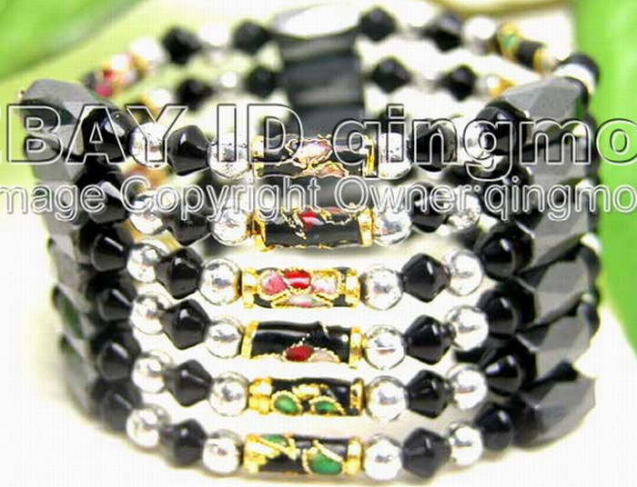 "SALE Black knobble Cloisonne & Black Magnetic Beads & Black Crystal 29"" Bracelet -5182 Wholesale/retail Free shippin"