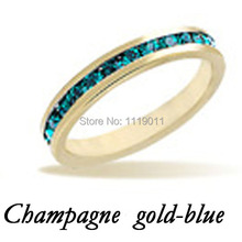 Fashion Blue Crystal Setting Studded Engagement Ring 18K Champagne Gold Plated Rings For Women Wedding Rings Party Jewelry Gift(China (Mainland))