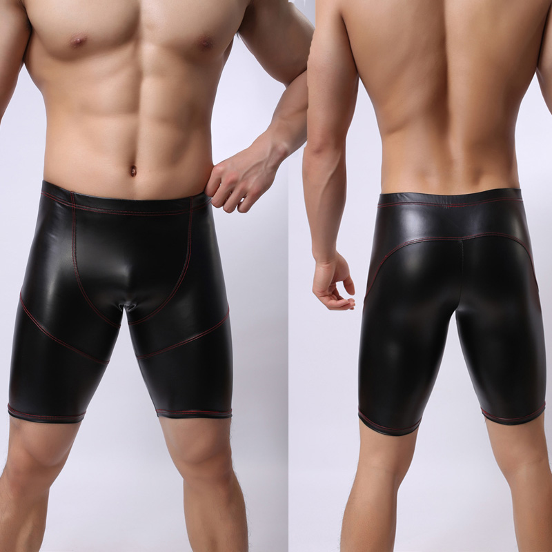 2016-Hot-Sale-Men-Sexy-Black-Faux-Leather-Bodycon-Shorts-Boxer-Fashion-Elastic-Underwear-Male-Bondage