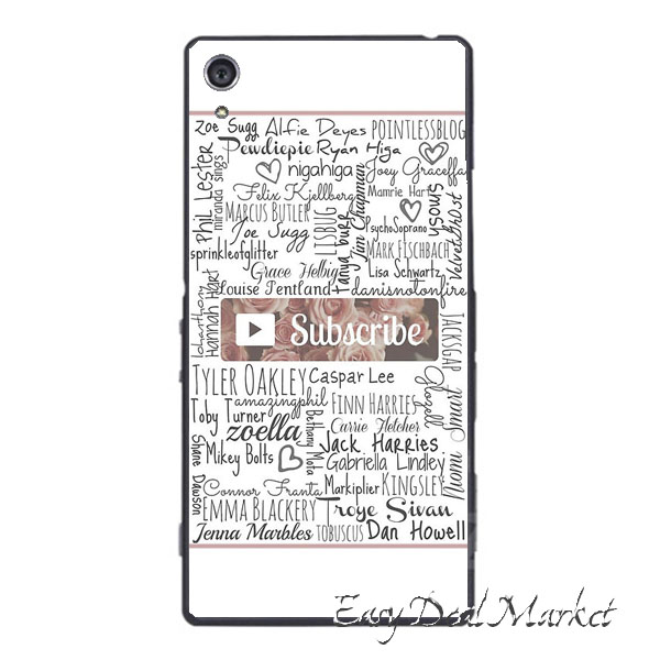 YouTuber Subscribe Floral Collage Case for IPhone 4 4s 5 5s 5c 6 6s plus Sony Z Z1 Z2 Z3 Z4 Z5 mini C C3 C4 C5 M2 M4 T2 T3 E4(China (Mainland))