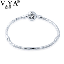 V YA Crystal Star Pattern Bracelets Women DIY Jewelry fits for Beads Charms Woman's Snake Bracelet Amazing Gift(China (Mainland))