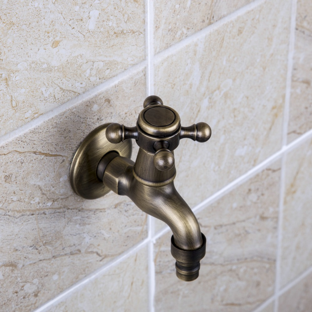 e-pak Special Bathroom New Washing Machine 360 Antique Brass Single Cold Wall Mounted Wash Basin Sink Bathroom Tap Faucet 2009F(China (Mainland))