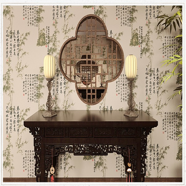 Chinese Style Classical Words Wallpaper Gray Yellow Bamboo Painting For Bedroom Background Wall paper Roll Wall World(China (Mainland))