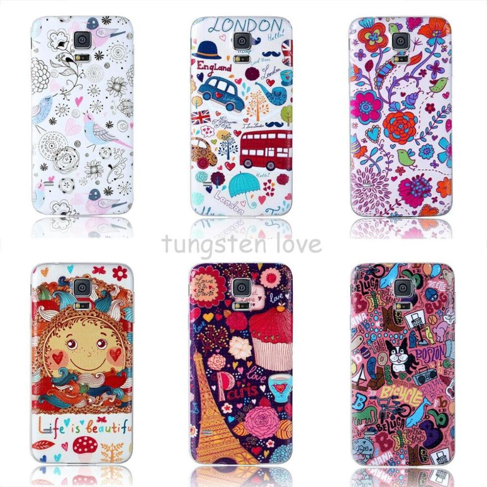 Color Printing 3D 9 color Battery Cover Back Door Case For Samsung Galaxy S5 I9600 G900(China (Mainland))
