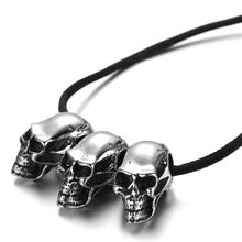 Mens Gothic Biker Skull Motorcycle Stainless Steel Pendant Necklace,KP1763