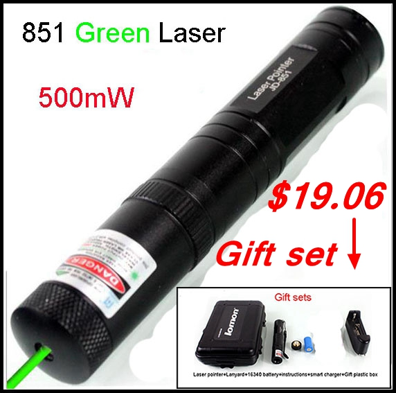 [RedStar]Laser 851 Green laser pointer 500mW red laser pointer aluminum laser 5000meter range with 16340 battery and charger(China (Mainland))