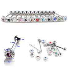 Buy 12pcs/lot 15G 1.4*19*5mm Colorful CZ Crystal Nipple Tongue Bars Lip Rings Chin Stud Bar Barbells Body Piercing Jewelry for $4.73 in AliExpress store