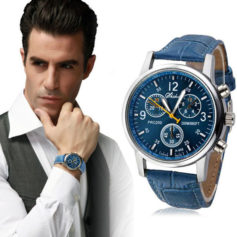 Mance New Luxury Fashion Hot Leather Mens Analog Watch Watches Blue Wholesale With Discount
