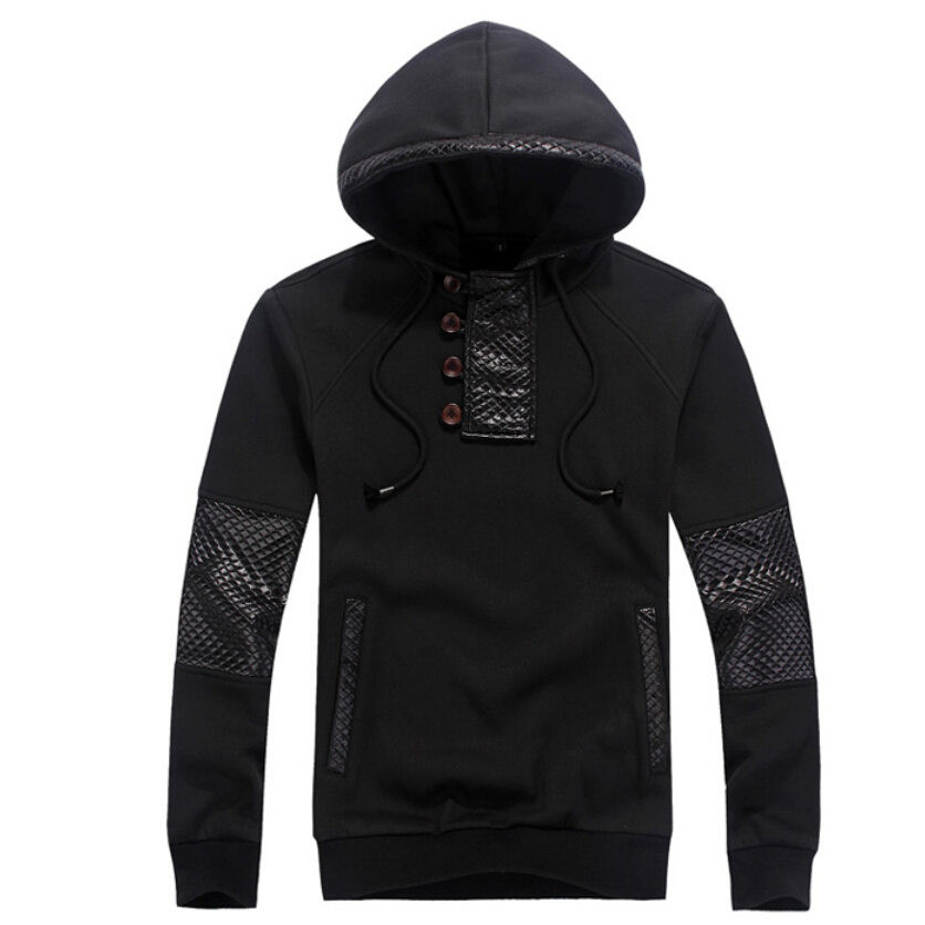 2015 Spring Fashion New Side Zipper Button Design Casual Hoodies Sweatshirts Men,outerwear Hoodie Coat Male, Color,plus Size