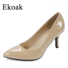 Buy Ekoak New 2017 women Patent leather high heels Sexy pointed toe OL Genuine Leather women pumps Fashion Sheepskin shoes woman for $26.99 in AliExpress store