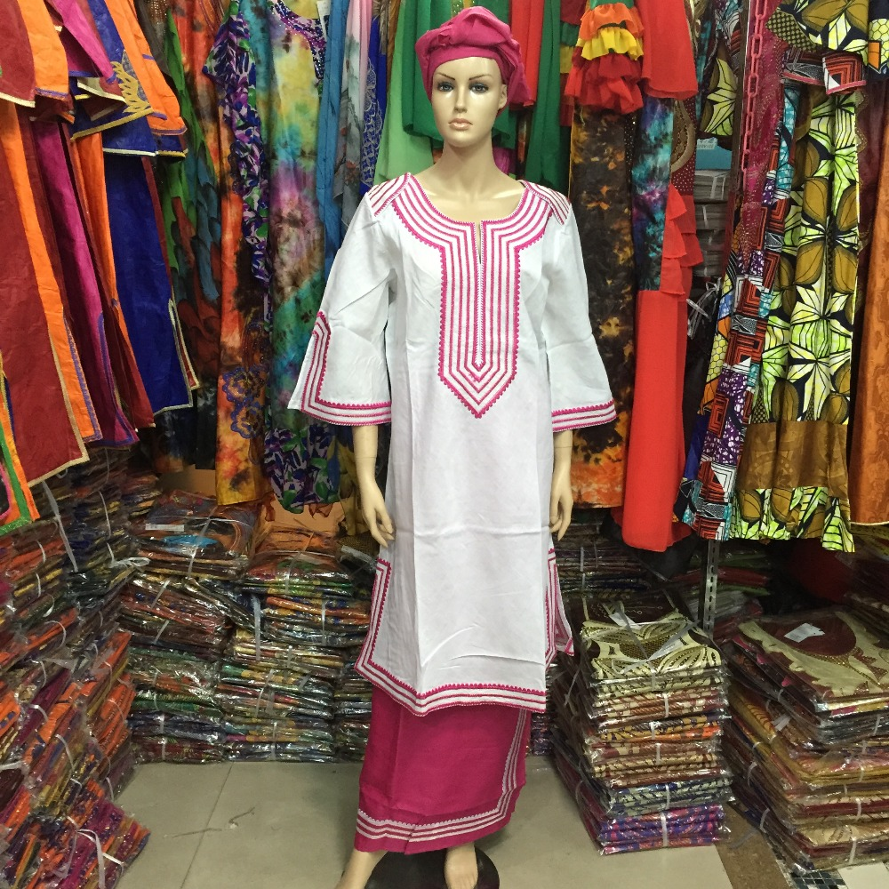 FREE DHL 2015 new fashion Bazin traditional African cotton embroidered women dress